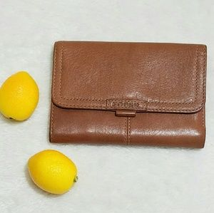 Fossil Brown Leather Tri-fold Wallet